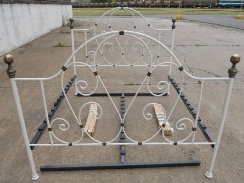 Victorian Style Painted Ornate Brass & Iron Double Bed